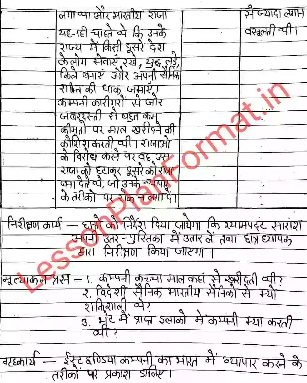 Social Studies Lesson Plan in Hindi