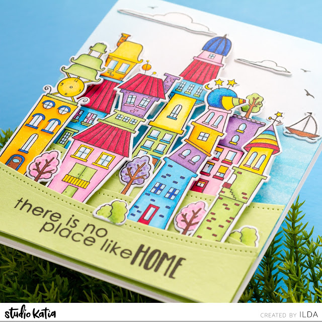 There Is No Place Like Home | Whimsical Town Scene Card | Studio Katia