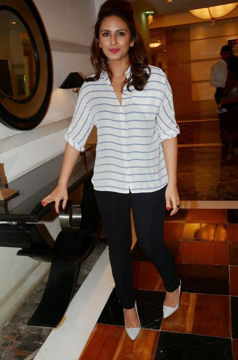Glamorous Hindi Girl Huma Qureshi 2017 Stills In White Shirt