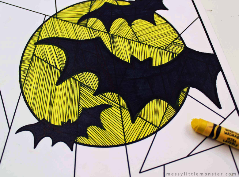 Halloween bat colouring page