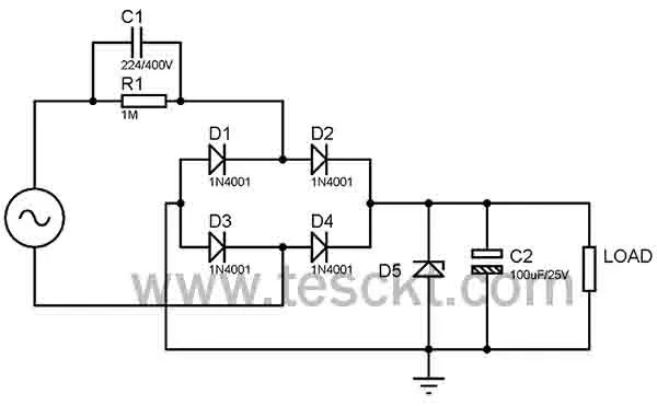 Capacitive dropper circuit for transformerless power supply