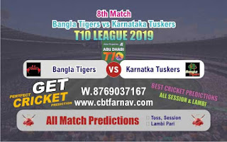 T10 League 2019 Tigers vs Tuskers 8th T10 2019 Match Prediction Today Reports