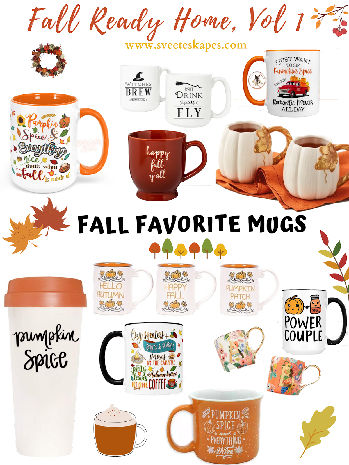 Favorite Fall Mugs featured by top US lifestyle blog, Sveeteskapes
