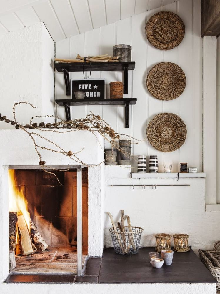 White rustic Scandinavian cottage