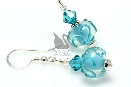 Teal Crystal Swirl Lampwork Beaded Earrings (EL248)