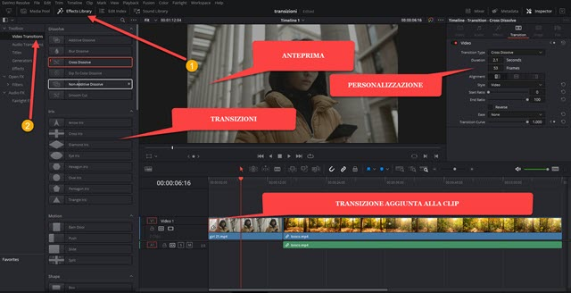 transizioni in davinci resolve