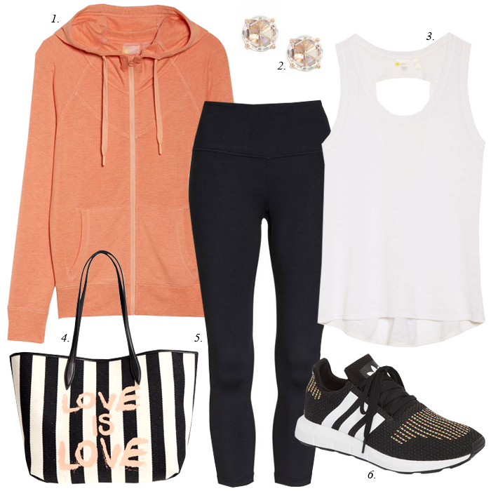 zip up hoodie, black leggings, work out tank, nike sneakers