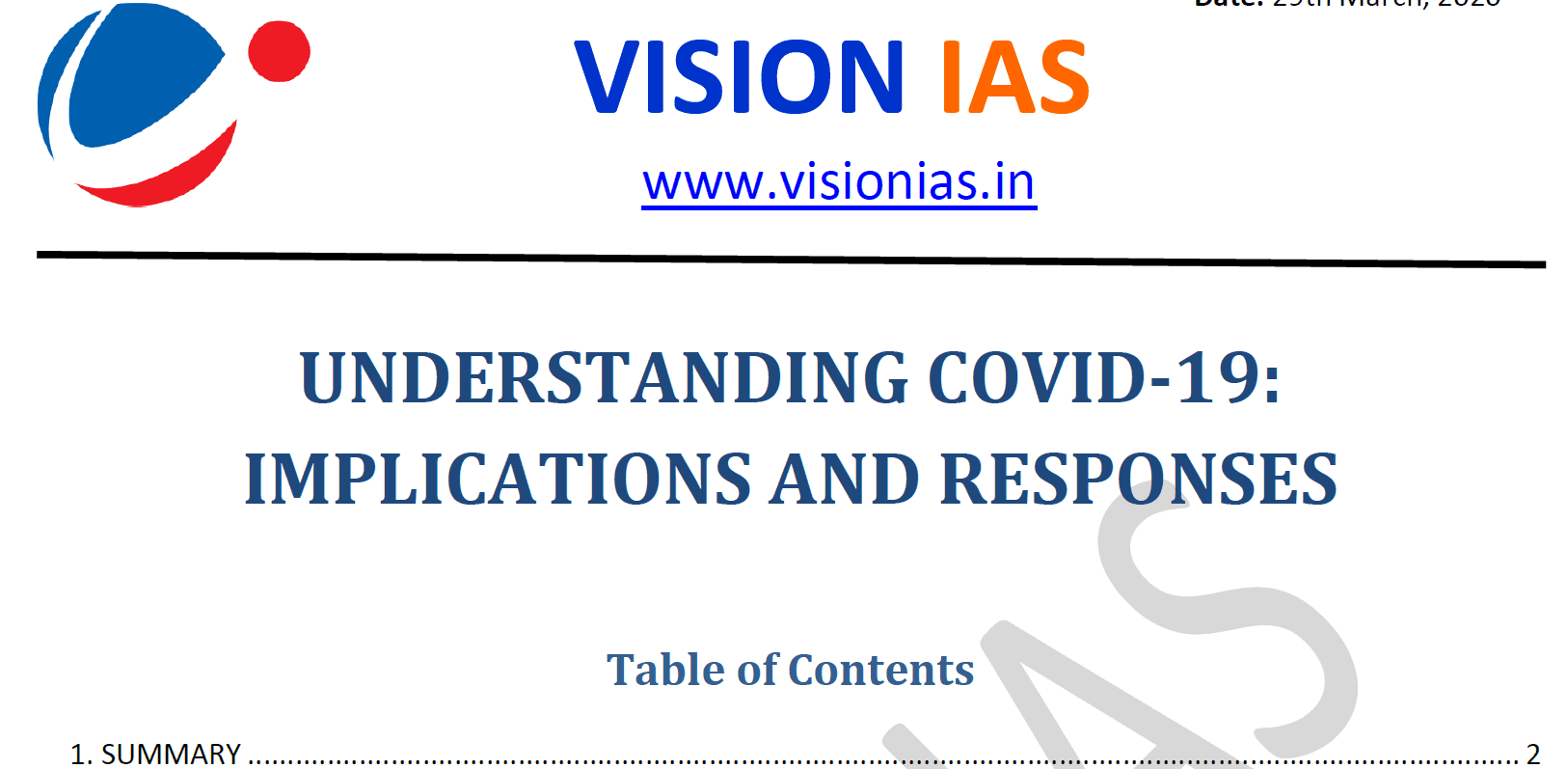 COVID-19 Implication and Response