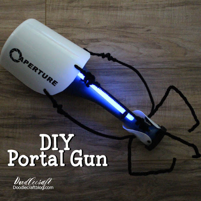 How to make a Portal gun using supplies from the Dollar Tree, dollar store crafts. Portal gun for costume or cosplay.