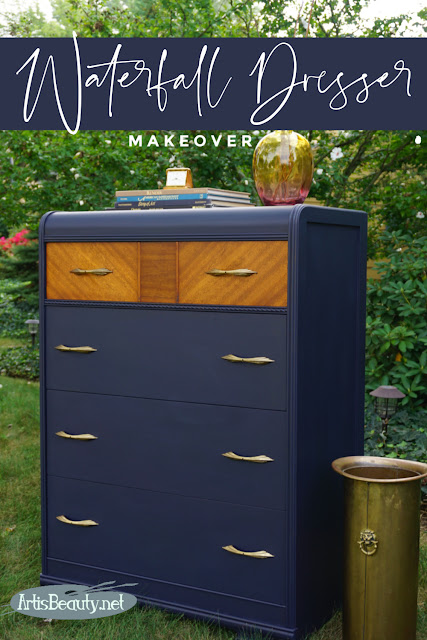 Vintage Waterfall Dresser makeover using General finishes Coastal Blue milk paint diy before and after refinished do it yourself