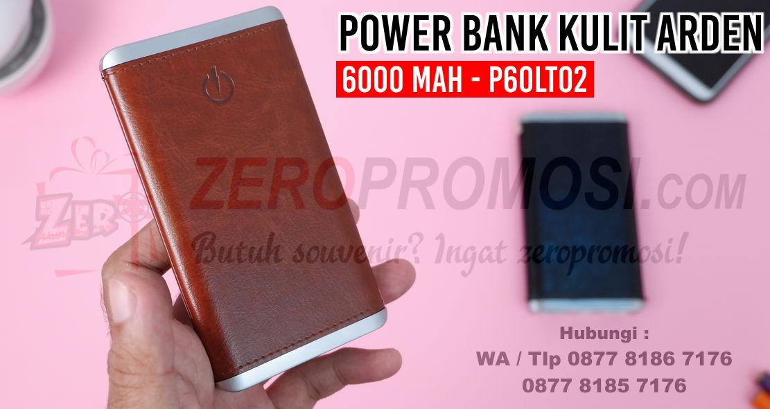 Power bank kulit ARDEN 6000 mAh Real Capacity - P60LT02, Powerbank Souvenir Kantor 6.000mAh P60LT02