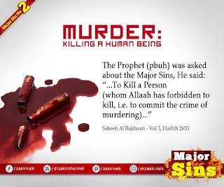 MAJOR SIN. 2.2. MURDER : Killing a Human Being Hadith Quote | Kabira Gunah