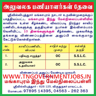 Applications are invited for Non Teaching Posts (Record Clerk and Office Asst) Mangapuram Hindu Higher Secondary School Srivilliputhur  (Govt Aided)