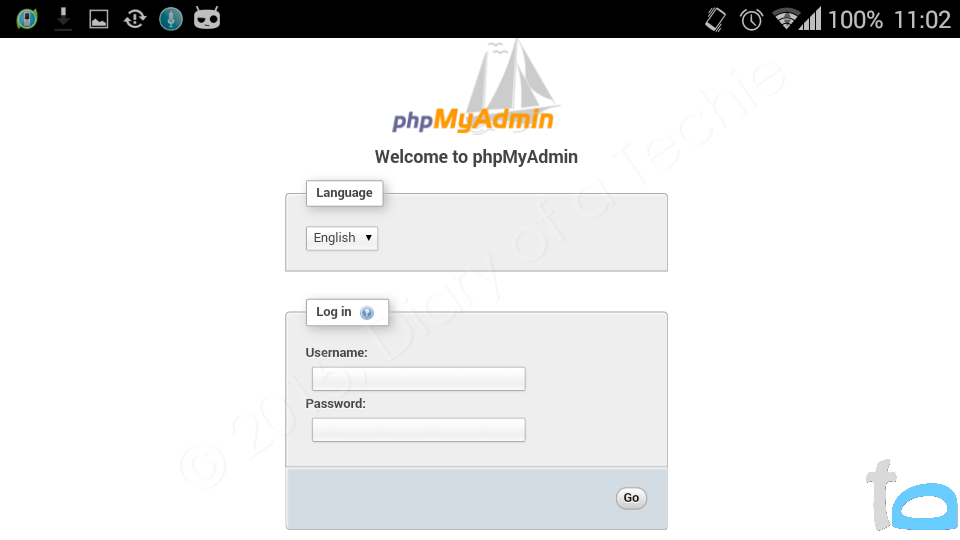 PHPMyAdmin running on AndroPHP server for Android