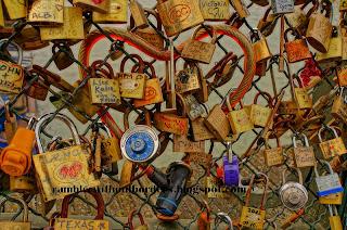Love padlocks on Pont des Arts, Paris, France
