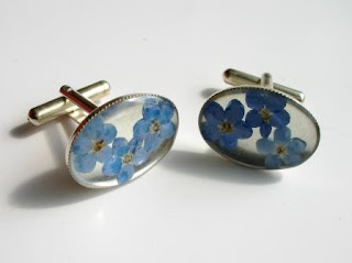Sterling silver forget me not flower cufflinks