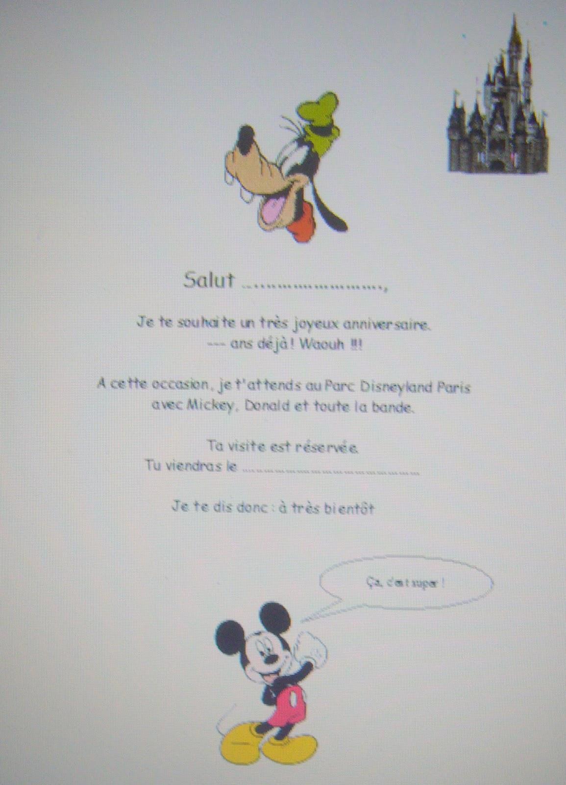 carte invitation disneyland a imprimer eBook] Lettre Pour Annoncer Un Week End Surprise