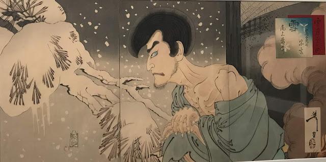 Photo of woodblock print by Tsukioka Yoshitoshi, 'Snow: Onoe Baikö V as Iwakura Sögen, 1890'