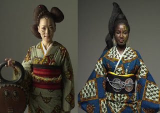 African prints designed in Japanese kimonos in beautiful collection