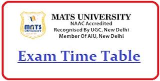 MATS University Exam Date Sheet 2020