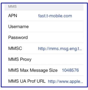T-Mobile Data Settings