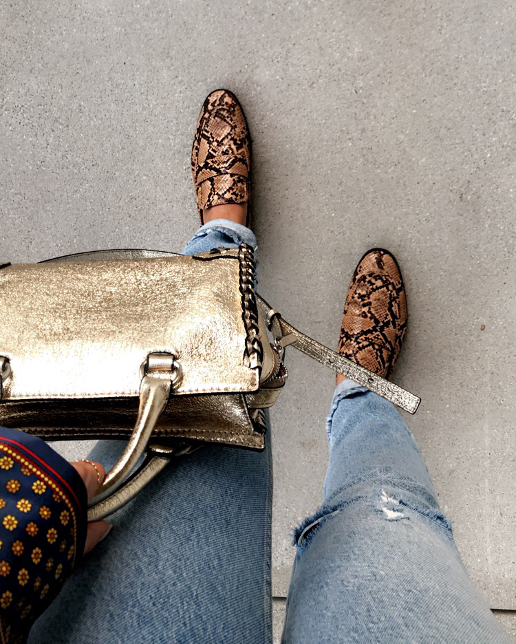 casual Monday outfit, pajama top, how to style, la fashion blogger, Pinterest fashion, Persian blogger, snakeskin loafers, gold Zara bag, mom jeans, how to have a great Monday, tips for your Monday, how to have a relaxing Monday, work from home tips, blogger tips, life of a blogger, parmida Kiani,