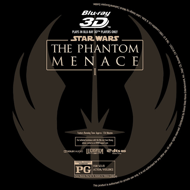 Star Wars: Episode I - The Phantom Menace 3D Bluray Label