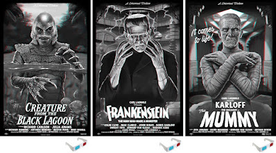 Universal Monster Screen Print Series by Tom Walker x Vice Press x Bottleneck Gallery - Frankenstein, The Mummy and Creature From the Black Lagoon