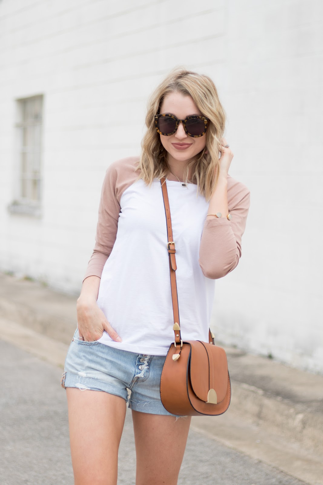 Baseball tee with shorts for spring