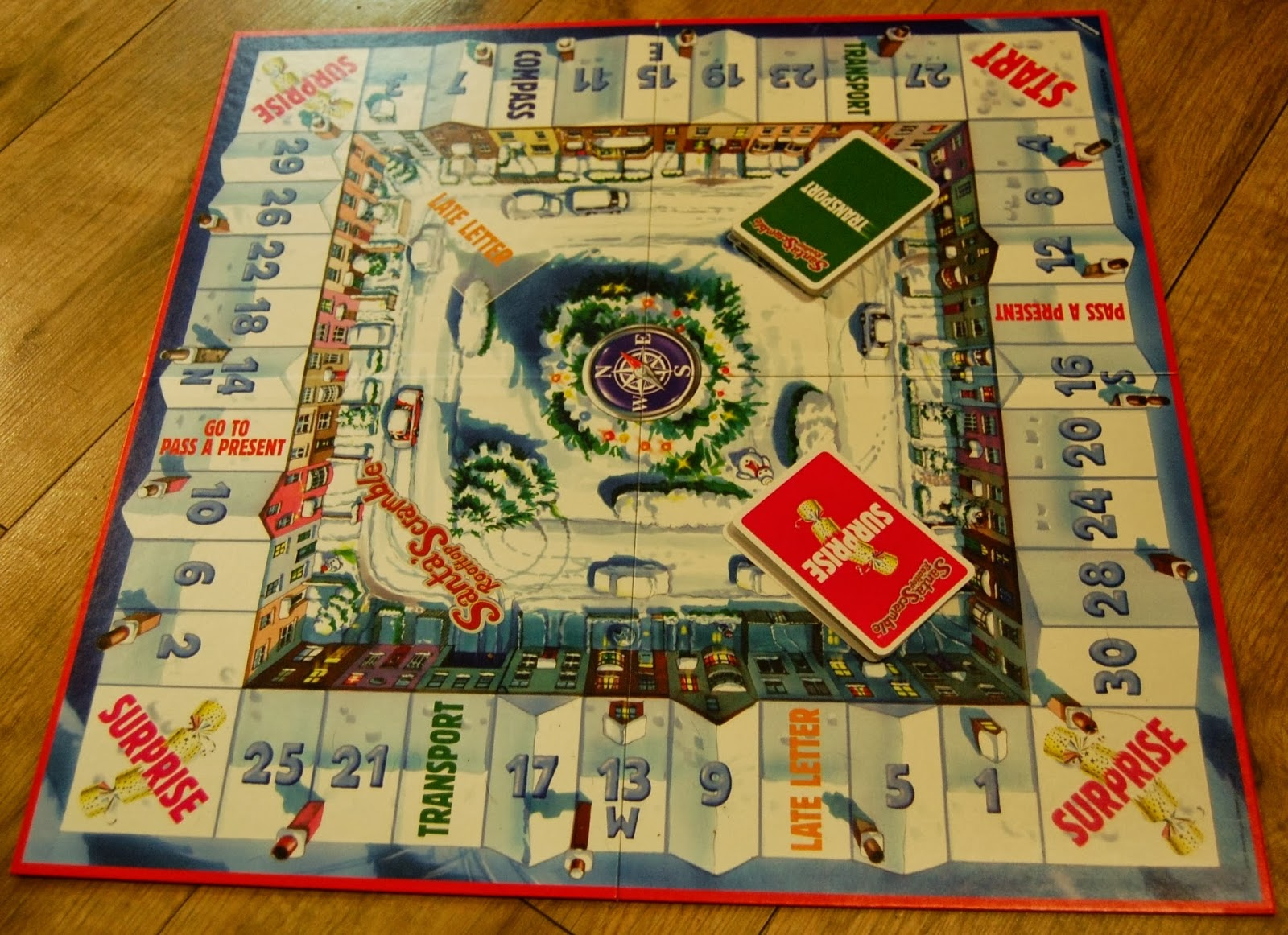 santa's rooftop scramble board game  my three and me