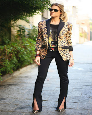 outfit animal print para el trabajo elegante formal
