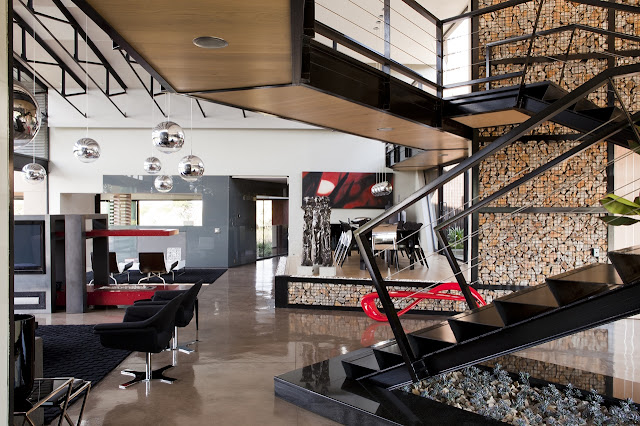 Black steel staircase in the modern house