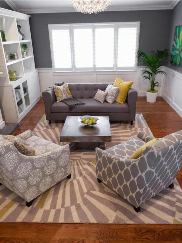 salón en gris y amarillo