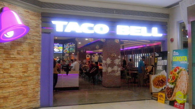 Taco Bell Philippines branches at the lower ground floor and 3rd level of Gateway Mall, 2nd level TriNoma, and 2nd level Alabang Town Center,
