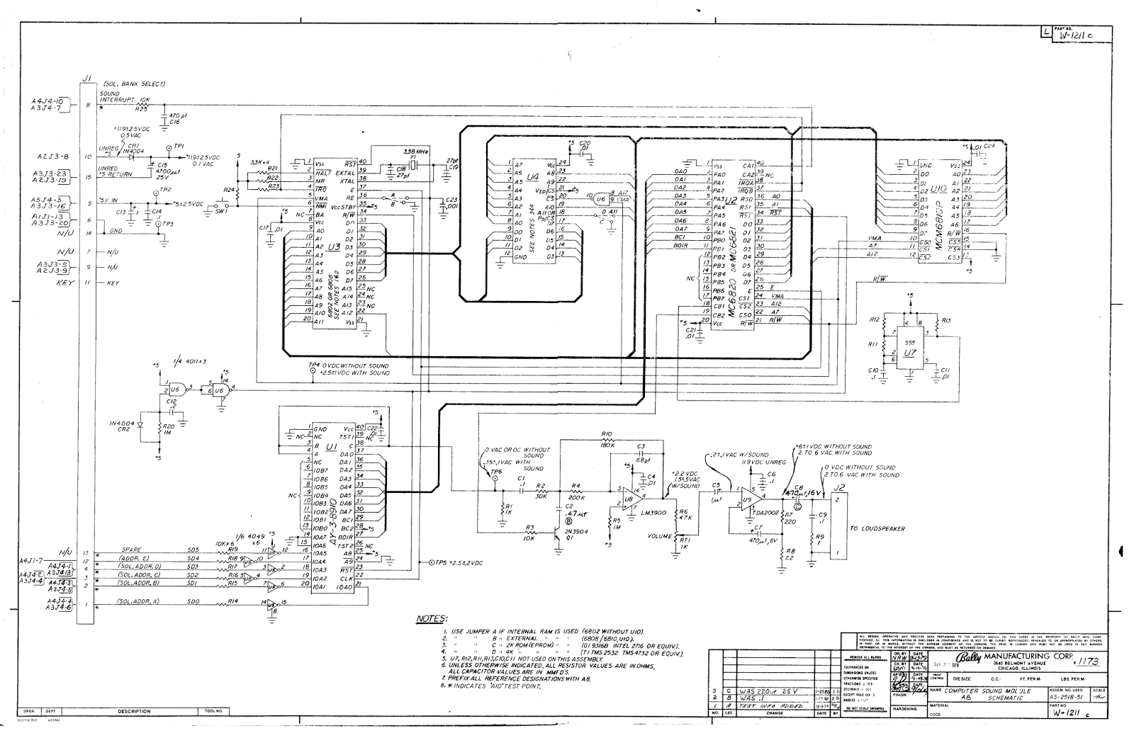 Schematic of the AS-2518-51 Sound Module