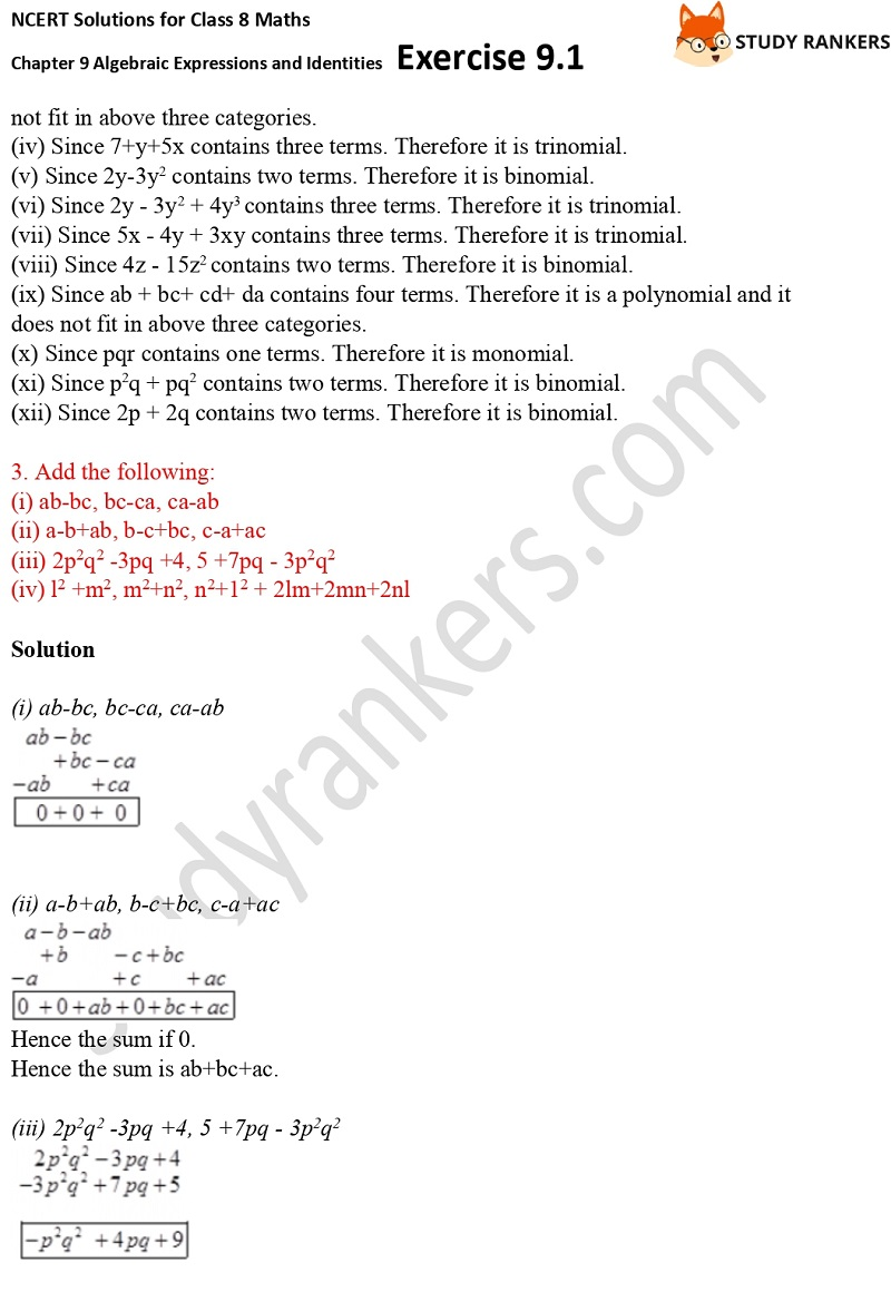 NCERT Solutions for Class 8 Maths Ch 9 Algebraic Expressions and Identities Exercise 9.1 2