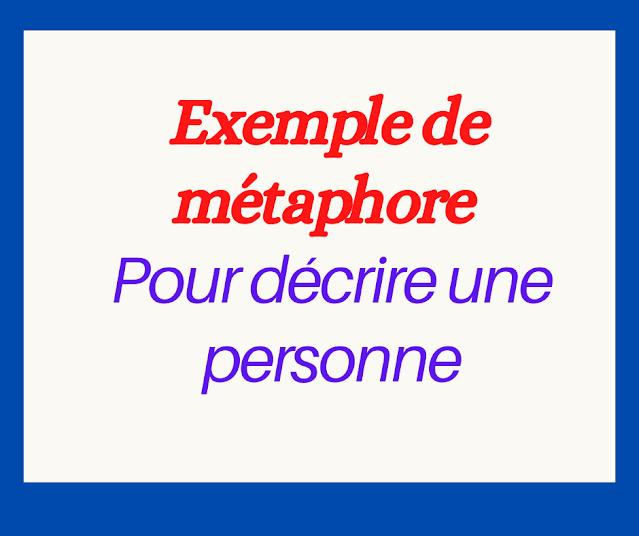 Exemple de métaphore pour décrire une personne
