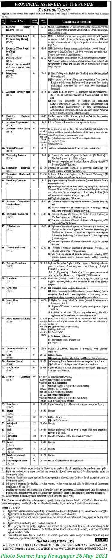 Provincial Assembly Punjab Jobs 2021 Download Application Forms 205+ Posts