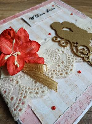 Kartka na ślub w czerwieni i złocie