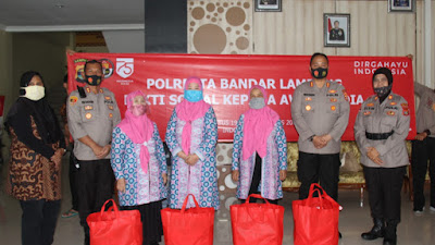 Wujud Kemitraan Dengan Awak Media,  Polresta Bandar Lampung Gelar Bakti Sosial