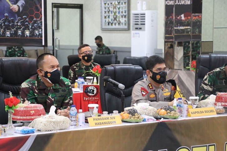 Pangdam Hasanuddin Bersama Kapolda Sulsel Hadiri Rapim TNI-Polri 2021, Bahas Penanganan Covid-19,  Melalui Vicon
