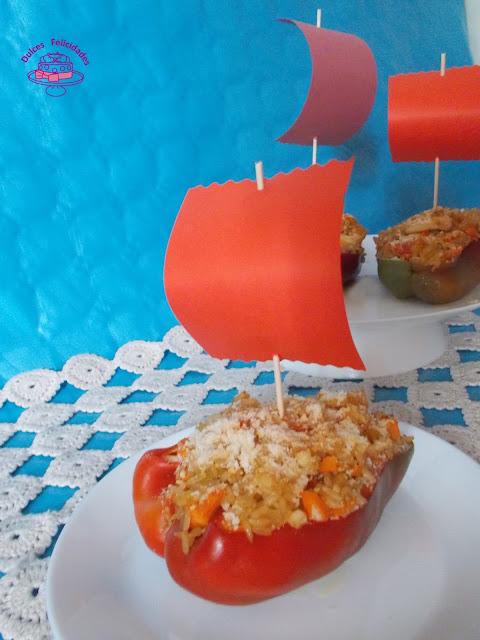 Barcos de pimientos con solomillo de pollo y arroz integral
