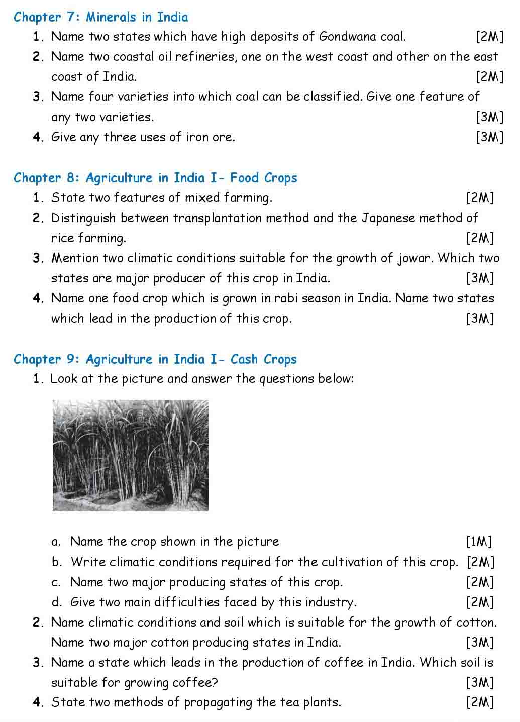 ICSE Geography Chapter Wise Important Questions Class 10