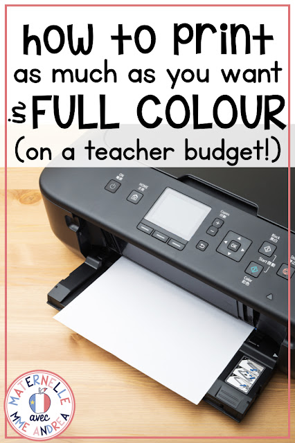Struggling with printer ink expenses on a teacher budget? Check out the blog post and learn my secret to being able to print as many full colour resources as I need WITHOUT breaking the bank, month after month!