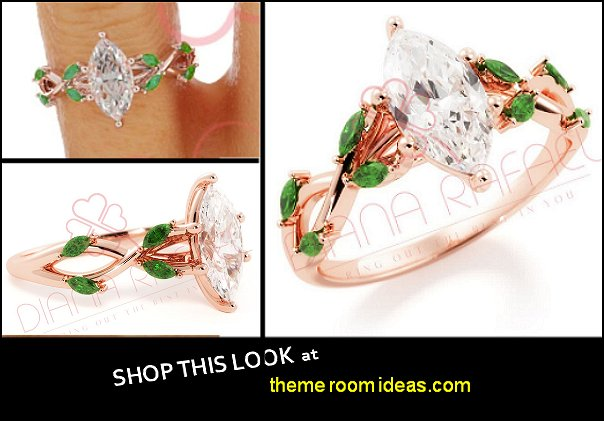 Marquise Engagement Ring, Engagement Ring, Rose Gold Diamond Ring, Natural Emerald, Emerald Jewelry, Emerald Leaf Ring, Vine ring