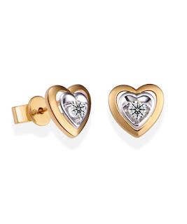 Khuyên tai kim cương hình trái tim cuốn hút