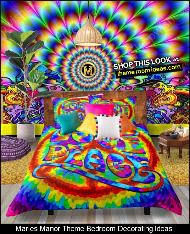Psychedelic Bedding trippy wallpaper trippy mural hippie bedding Pom Poms Pillows