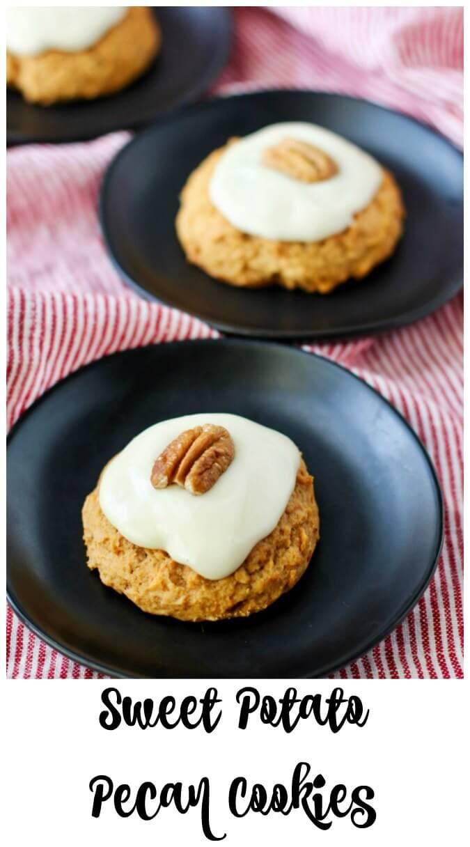 Sweet Potato Pecan Cookies with Maple Cream Cheese Frosting