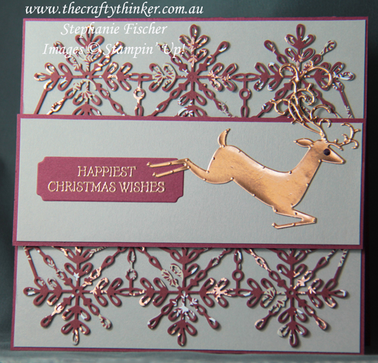 #thecraftythinker  #stampinup  #cardmaking  #christmascard  #xmascard  #dashingdeer #swirlysnowflake , Swirly Snowflake, Dashing Deer, Christmas card, Xmas card, Masculine Card, Stampin' Up Australia Demonstrator, Stephanie Fischer, Sydney NSW