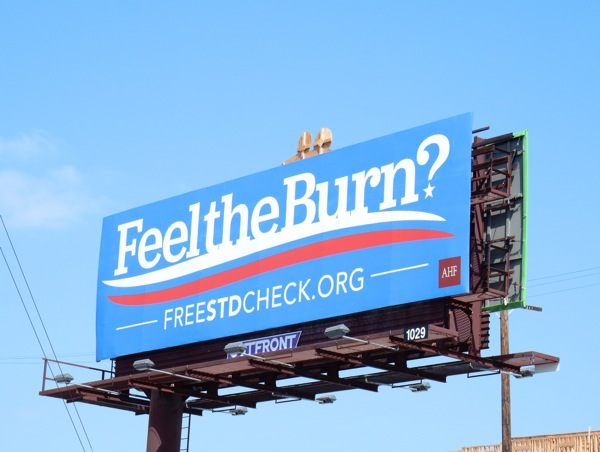 Feel the Burn Free STD check billboard